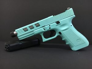 An example of Live Free Armory's custom Glock-22 conversion to 9mm in Robbins Egg Blue Cerakote